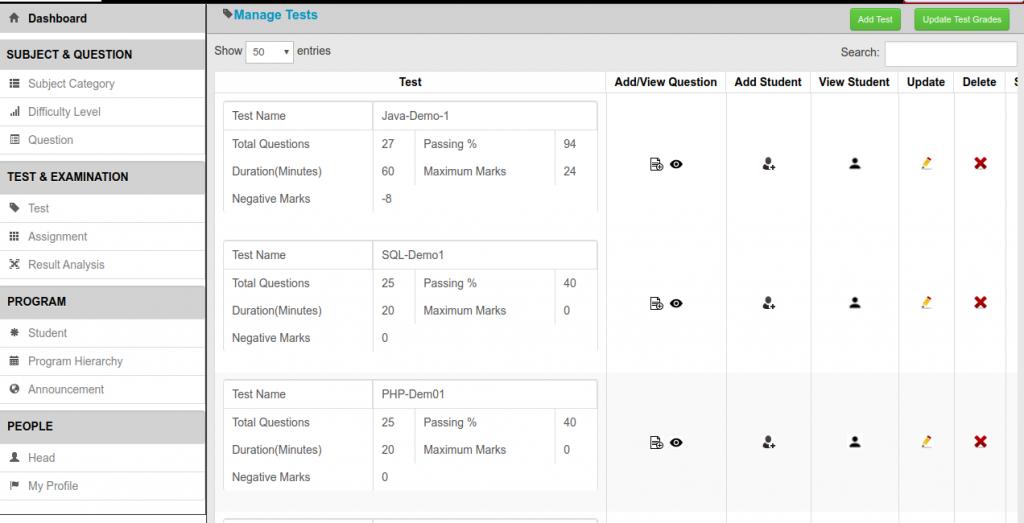 Online Test Software Manage tests Image