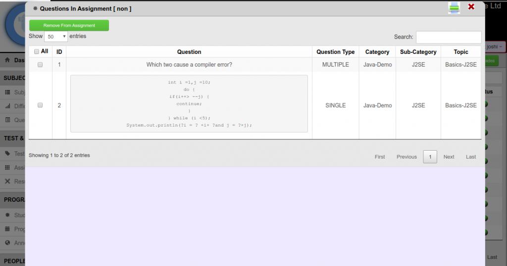 Question online Assessment software